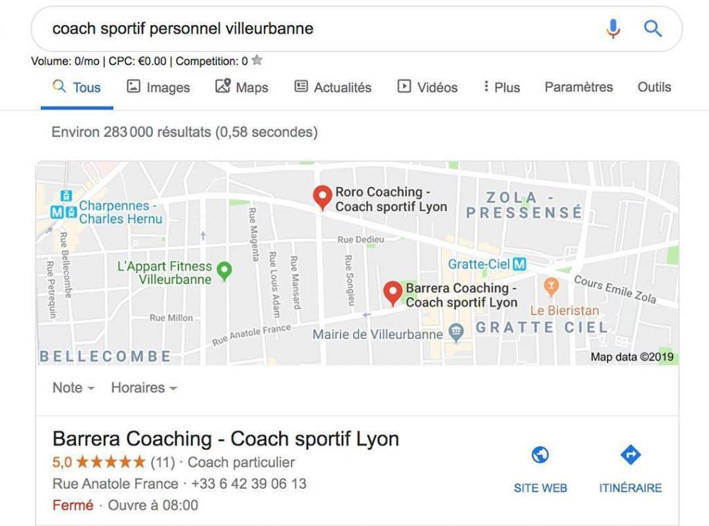 Fiches Google My business dans recherche