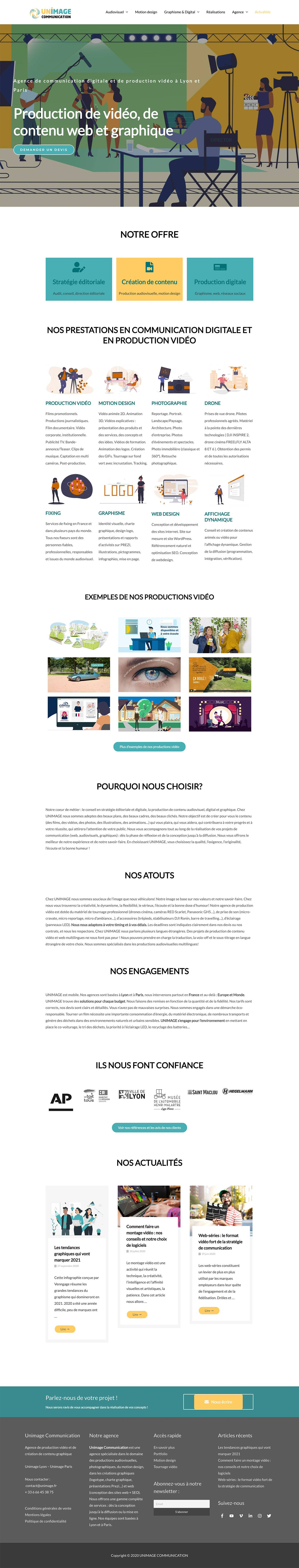 Création de site UNIMAGE, production audiovisuelle et digitale